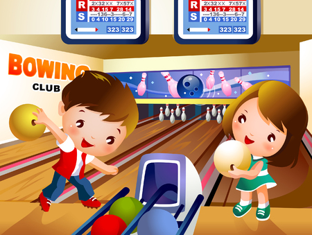 Boy bowling in bowling alley with a girl holding a ball Illusztráció