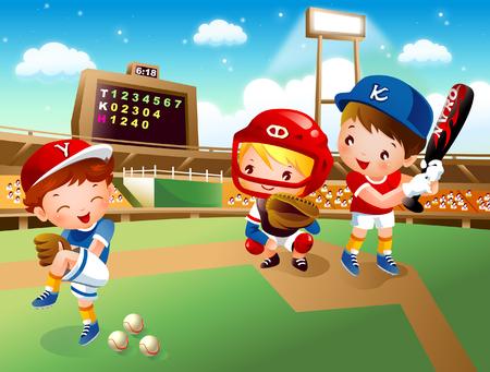 Drie honkbal spelers spelen honkbal