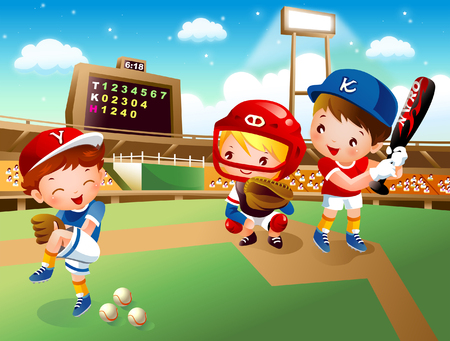 Three baseball players playing baseball
