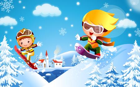 Boy and a girl skateboarding on snow