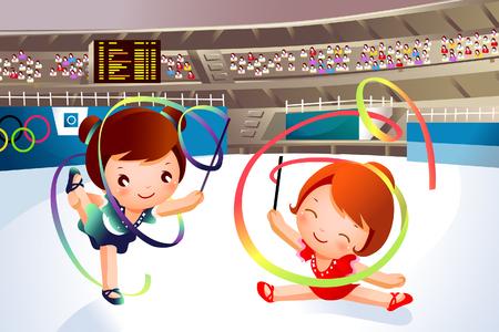 Twee meisjes die gymnastiek met linten uitvoeren