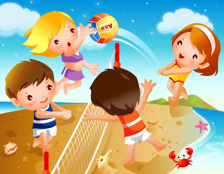 二人の少年と 2 人の女の子を再生ビーチ バレーボール