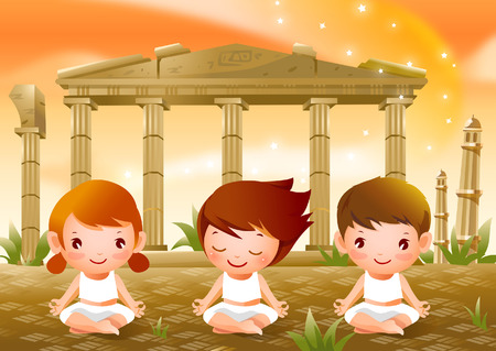 Close-up of two boys and a girl practicing yoga Illustration