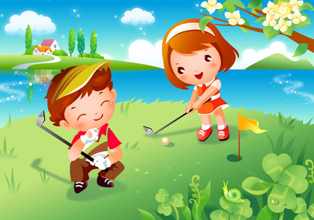 Boy and a girl playing golf