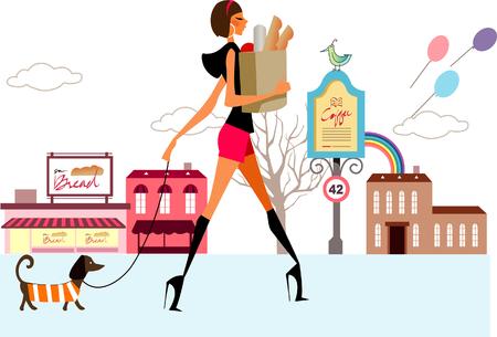 ウォーキングや犬とショッピング袋を持って女性の横顔