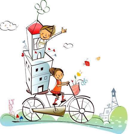 Couple carrying a house on a bicycle Illustration