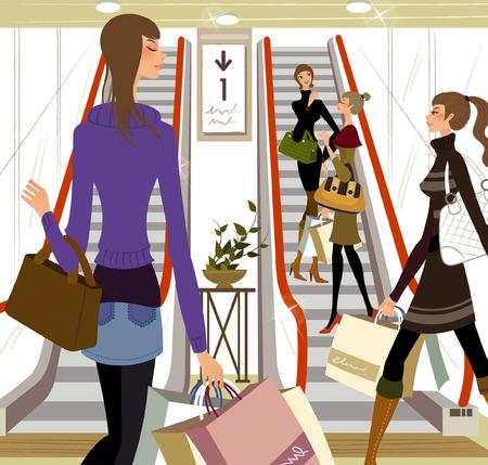 ショッピング モールの女性  イラスト・ベクター素材