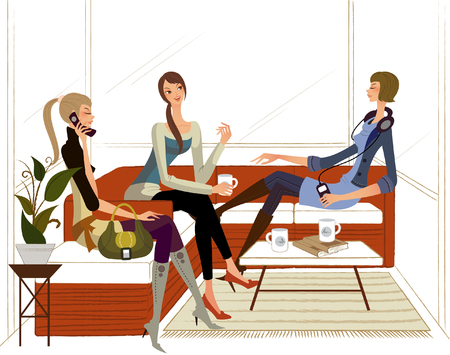 knee boots: Three women sitting on a couch