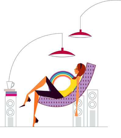 Side profile of a woman lying on a chair Illustration