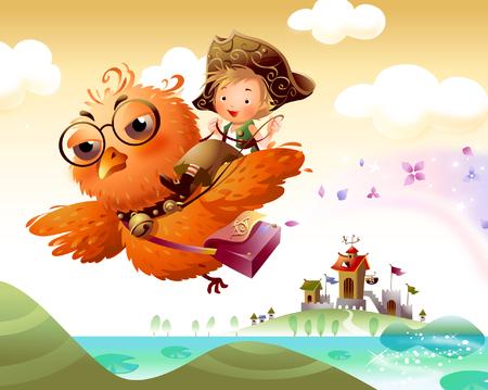 空にフクロウに乗る少年  イラスト・ベクター素材