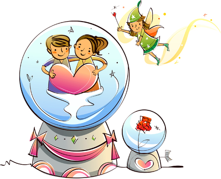 Couple holding heart shape in a crystal ball with a fairy in the sky Illustration