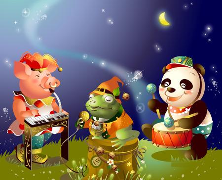 pianista: Panda y un cerdo con una rana tocando instrumentos musicales