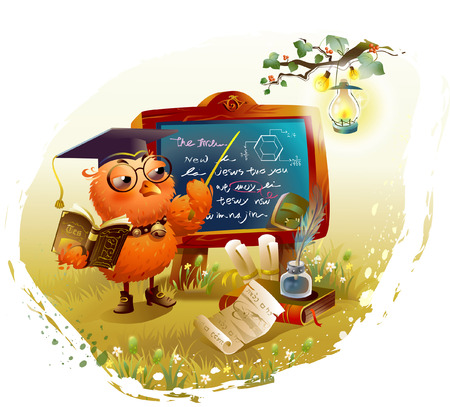 anthropomorphic: Bird holding a book and teaching at a blackboard