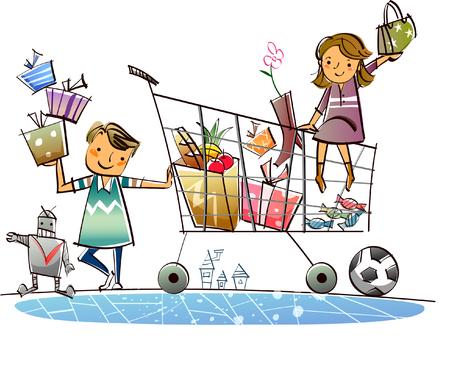Hombre de pie en un carrito de compras con una mujer sentada en él Vectores