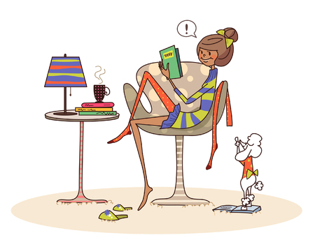 Side profile of a woman sitting on a chair and reading a book Illustration