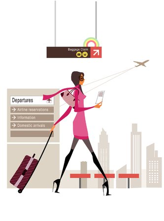 Side profile of a woman walking and pulling luggage at an airport lounge Illustration