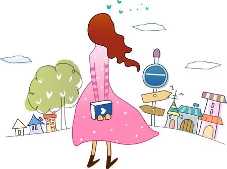 本を持って、立っている女性の後姿  イラスト・ベクター素材
