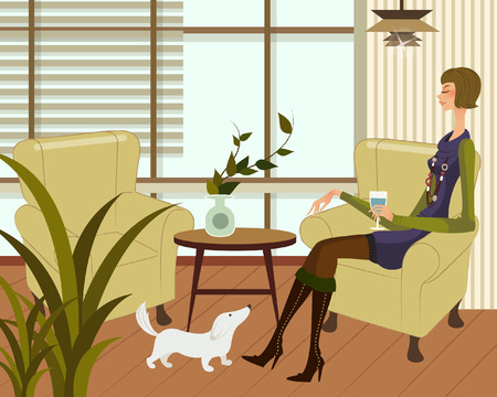 Side profile of a woman sitting in an armchair and holding a glass of wine Illustration