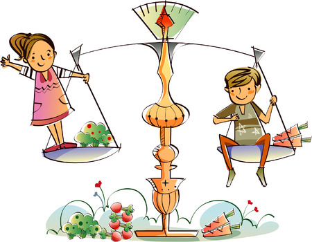cauliflower: Couple on a weighing scale Illustration