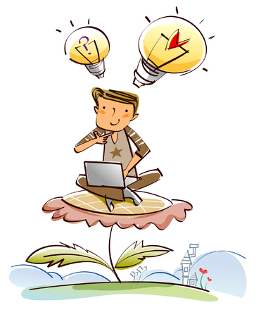 Man sitting on a flower and using a laptop Illustration