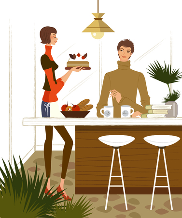 Man sitting at a table with a woman holding a cake beside him Illustration