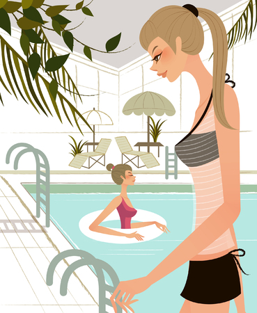 Side profile of a woman standing at the poolside with another woman swimming in the background