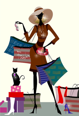 retail therapy: Woman carrying shopping bags