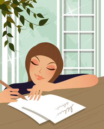手紙を書く婦人
