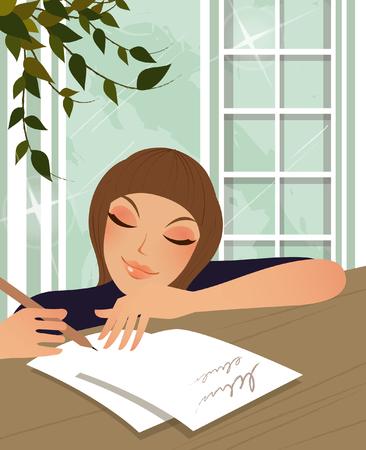 Donna che scrive una lettera Archivio Fotografico - 78643577
