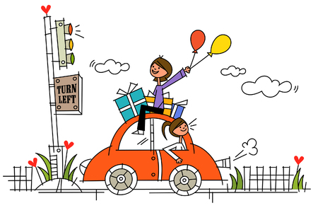 controlling: Woman driving a car with another woman sitting on its roof and holding balloons