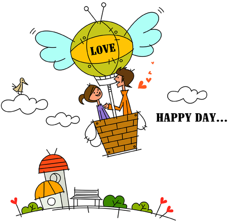 hot couple: Side profile of a couple in a hot air balloon Illustration