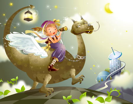 looking through an object: Side profile of a girl riding a dinosaur