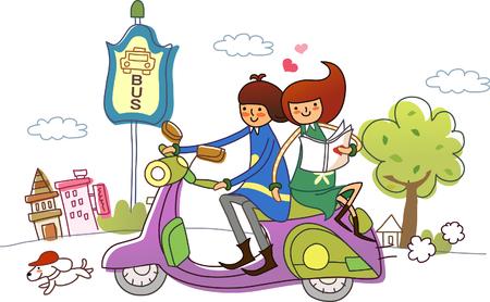 スクーターに乗るカップル