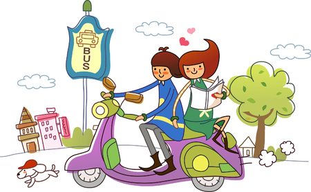 Couple riding a motor scooter