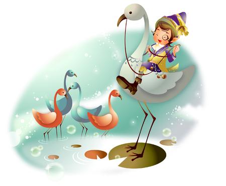 Boy riding a flamingo