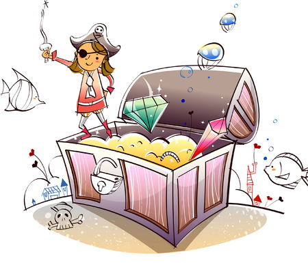 Female pirate standing on a treasure chest Illustration