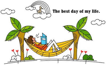 Side profile of a man lying in a hammock and reading a book