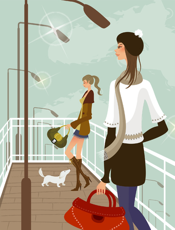 Two women holding hand bags Illustration