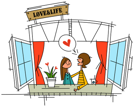 cuddling: Couple standing near a window Illustration