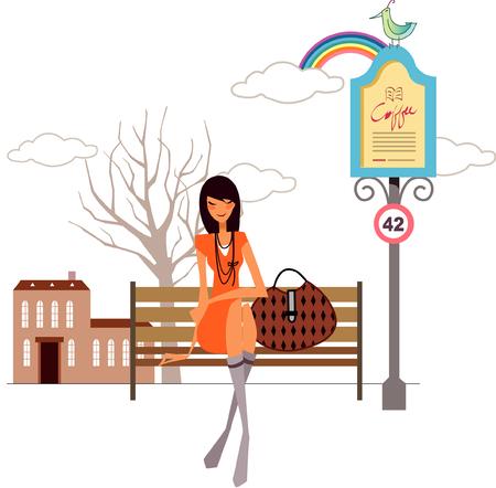 彼女のそばに彼女の手のバッグでベンチに座っている女性