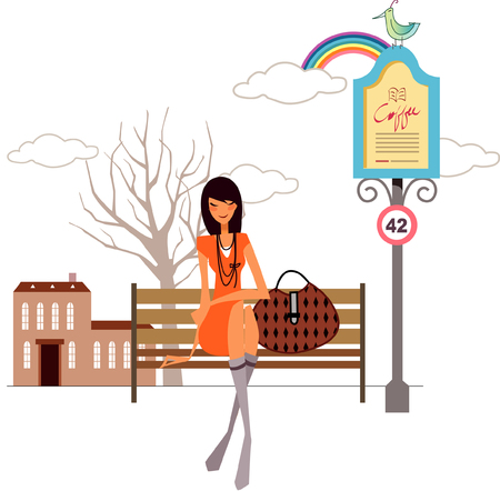 alphabet tree: Woman sitting on a bench with her hand bag beside her