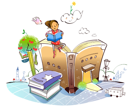 Woman sitting on a book in the shape of a house and reading a book