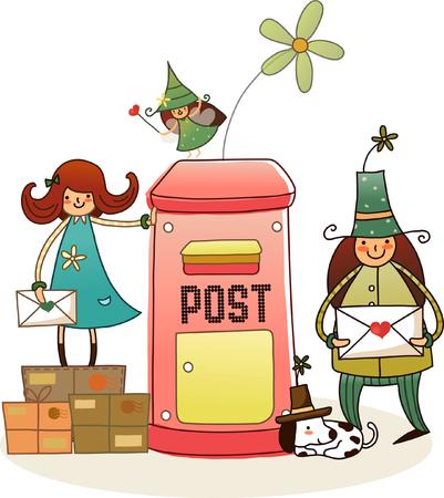 Homme et une femme tenant des enveloppes et debout près d'une boîte aux lettres Banque d'images - 78643587