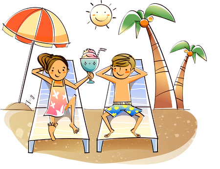 Couple reclining on lounge chairs on the beach Stock Vector - 78587653