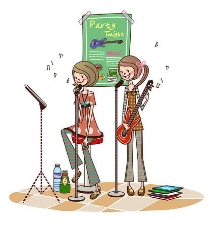 Two women performing in front of microphones Illustration