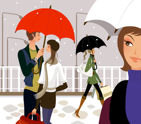 Two women and a couple holding umbrellas in snowing Illustration
