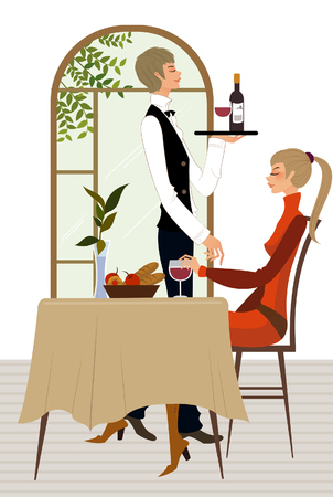 Side profile of a waiter serving wine to a woman in a restaurant