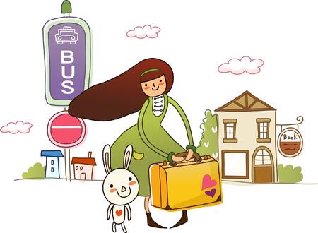 彼女のそばにいる兎が付いているスーツケースを持った女性  イラスト・ベクター素材