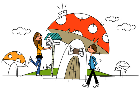 Side profile of two women in front of a mushroom house