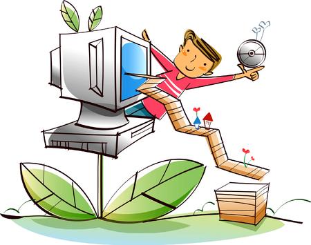 Man holding a CD near a computer monitor Иллюстрация